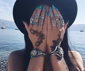 nails, girl, and tattoo image