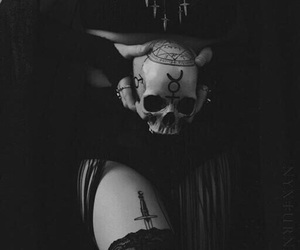 witch, skull, and black image