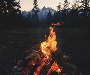 adventure, fire, and landscape image