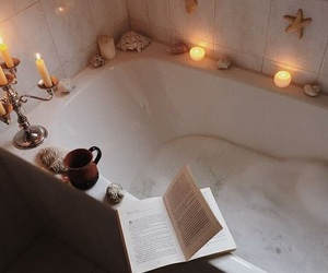 bath room, relax, and book image