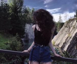 girl, nature, and trees image