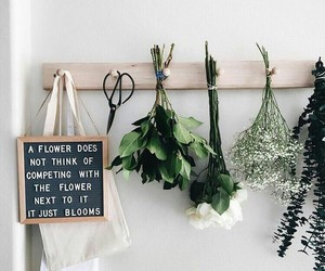 flowers, quotes, and green image