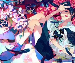 boy, flowers, and raven image