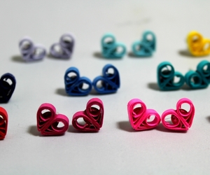 paper quilling, heart earrings, and heart studs image