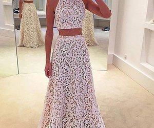 dresses, lace prom dress, and lace dress image