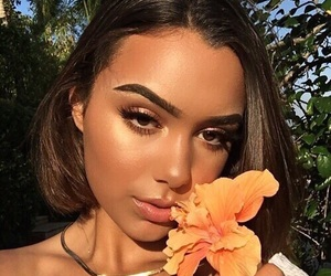 girl, makeup, and flowers image