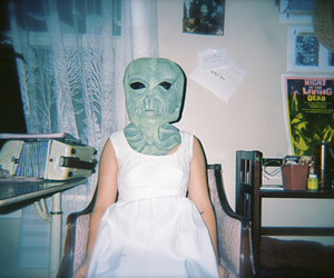 girl, alien, and mask image