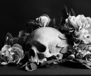 skull, flowers, and b&w image