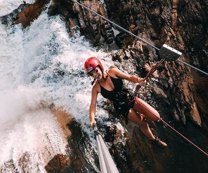 girl power, photography, and waterfall image