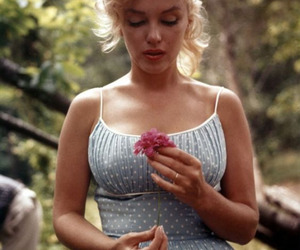Marilyn Monroe, flowers, and tattoo image