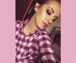 make up, lashes, and pink image