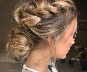 blonde, braided, and bun image