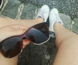 summer, white shoes, and sunglasses image