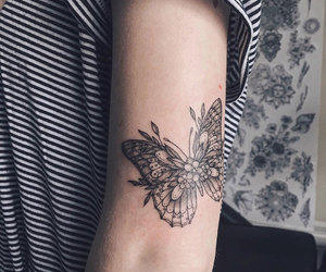 butterfly, tattoo, and flower image