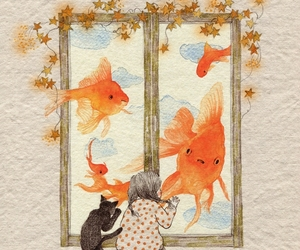 girl, cat, and fish image