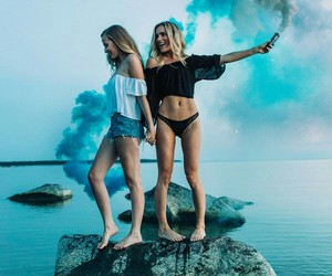 girl, friends, and blue image