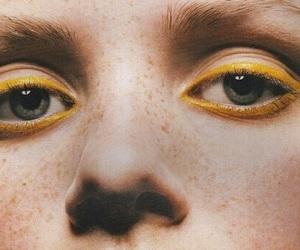 yellow, eyes, and makeup image