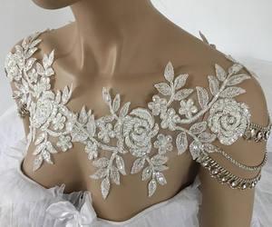 etsy, wedding dresses, and shoulder necklace image