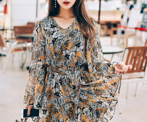 asian fashion, flower, and jumpsuit image