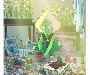 cactus, daffodils, and fan art image