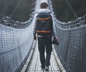 boy, bridge, and travel image