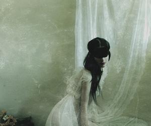 girl, curtain, and dark image