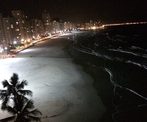 night, beach, and city image