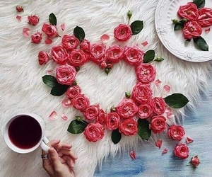 flowers, heart, and coffee image