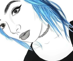 girl, outline, and blue image
