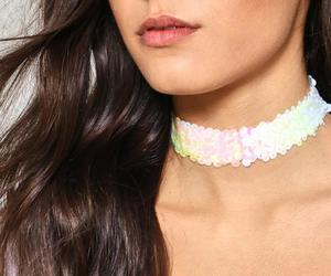 choker, sequin, and cool water image