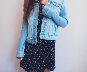 brown hair, clothes, and denim image