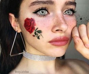 girl, rose, and makeup image