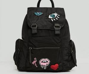 backpack, patches, and black image