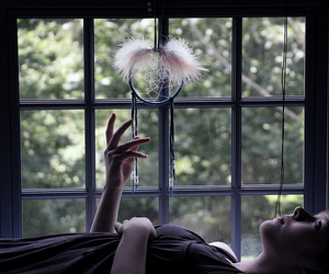 dreamcatcher, girl, and window image