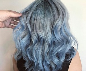 blue, bluehair, and curly image