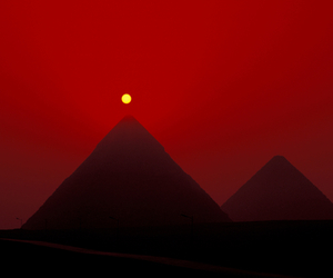 pyramid, red, and dark image