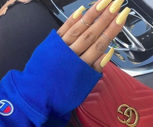nails, gucci, and yellow image