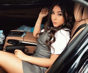 brunette, car, and girl image