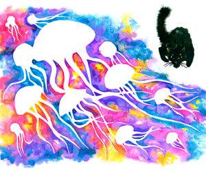 art, illustration, and jellyfish image