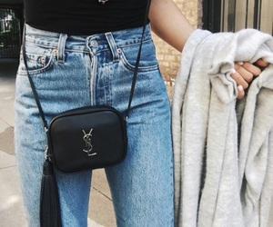 bag, denim, and black image