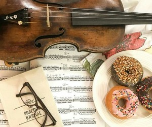 book, donut, and music image