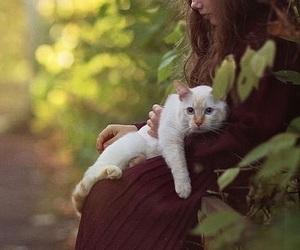 sad girl, trees, and white cat image
