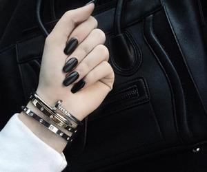 black, nail art, and fashion image