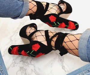 shoes, rose, and black image