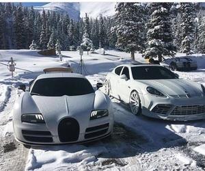 bugatti, porsche, and winter image