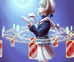 anime girl, cards, and sakura kinomoto image