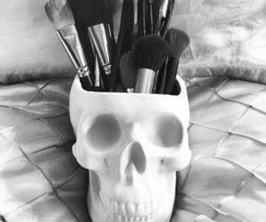 skull, makeup, and black image