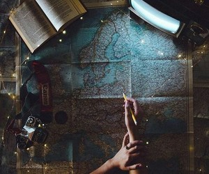 map, travel, and book image