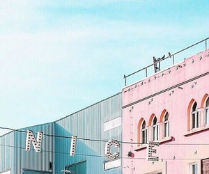 pink, teal, and aesthetic image
