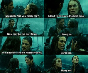 will turner, elisabeth swan, and pirates of the carribian image